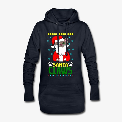 Hoodie-Kleid santa claws cat Ugly Christmas - Hoodie-Kleid