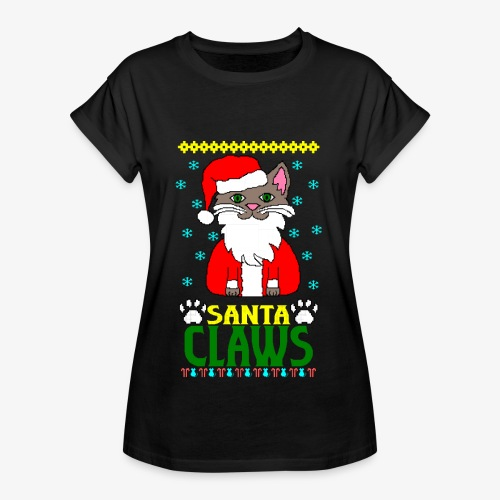 Frauen Oversize T-Shirt santa claws cat Ugly Christmas - Frauen Oversize T-Shirt