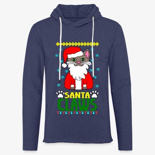 Leichtes Kapuzensweatshirt Unisex santa claws cat Ugly Christmas - Leichtes Kapuzensweatshirt Unisex