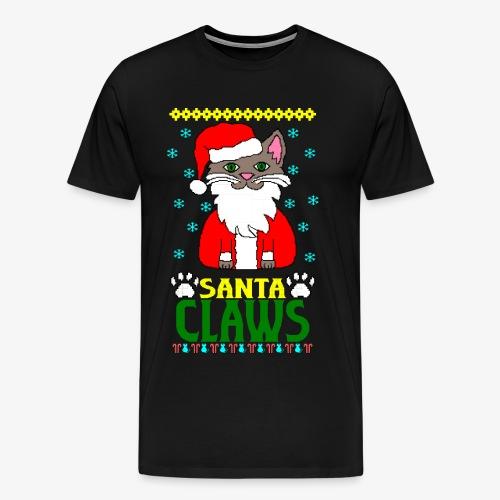 Männer Premium T-Shirt santa claws cat Ugly Christmas - Männer Premium T-Shirt