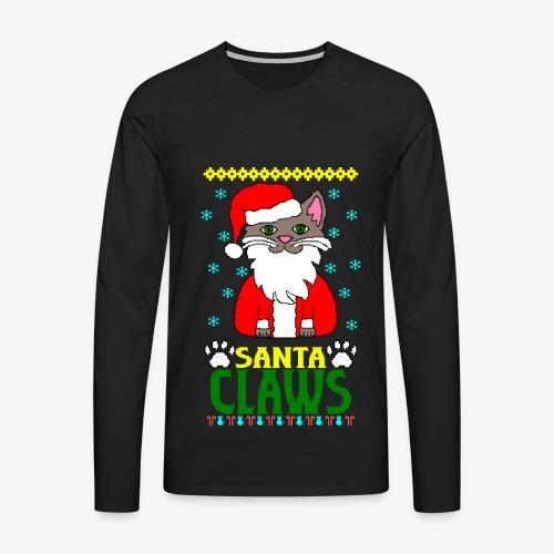 Männer Premium Langarmshirt santa claws cat Ugly Christmas - Männer Premium Langarmshirt