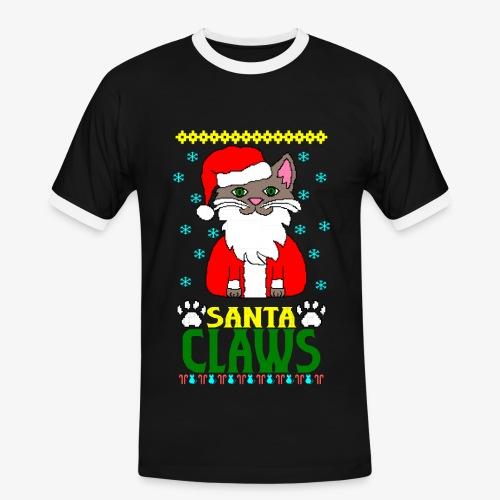 Männer Kontrast T-Shirt santa claws cat Ugly Christmas - Männer Kontrast-T-Shirt