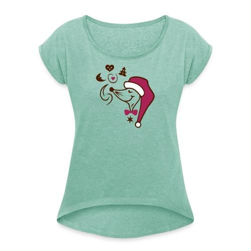 Weihnachtsbäckerei - Frauen T-Shirt mit gerollten Ärmeln