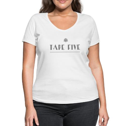 TAPE FIVE branding white, female - Women's Organic V-Neck T-Shirt by Stanley & Stella