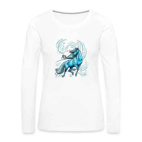 Front:  Blaues Wasserpferd - Back LOGO Schriftzug ( Print Digital Blue)  - Frauen Premium Langarmshirt
