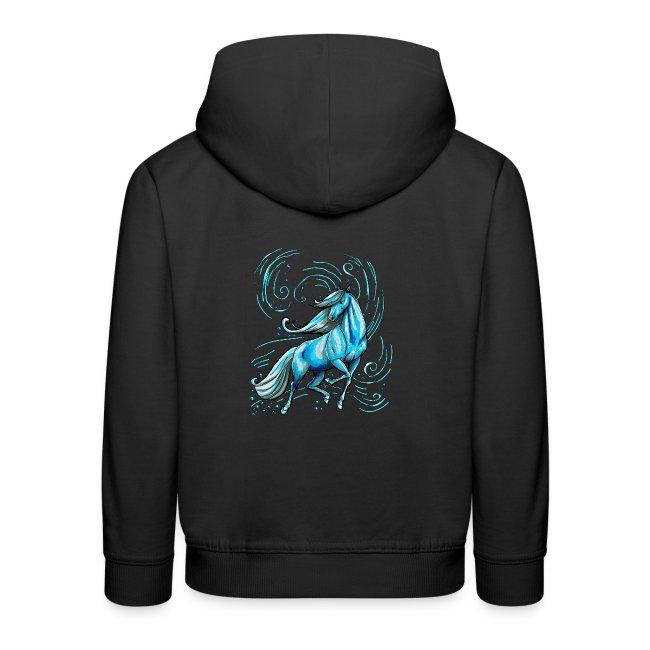 Front:  Schnörkelschriftzug MPS  - Back  Blaues Wasserpferd ( Print Digital Blue)