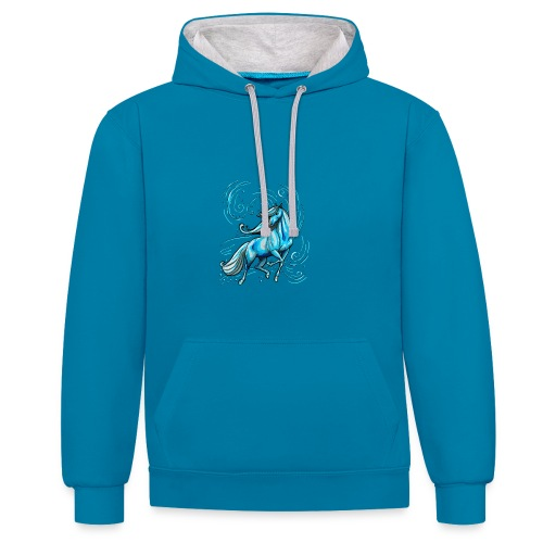 Wasserpferd  ( Print Digital Light Blue)  - Kontrast-Hoodie