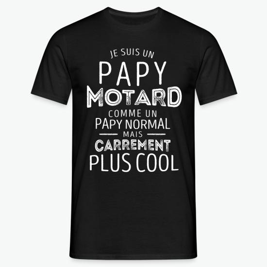 T-shirt Je suis un papy motard plus cool noir par Tshirt Family