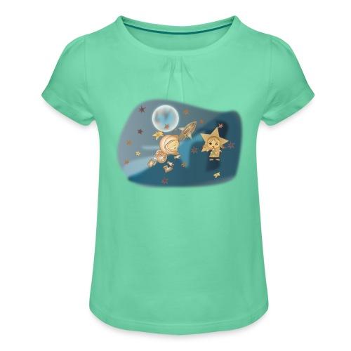 Astronaut und Stern - Mädchen-T-Shirt mit Raffungen
