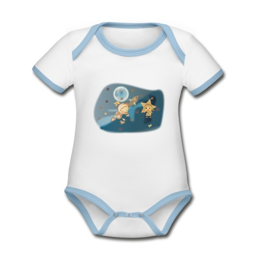 Astronaut und Stern - Baby Bio-Kurzarm-Kontrastbody
