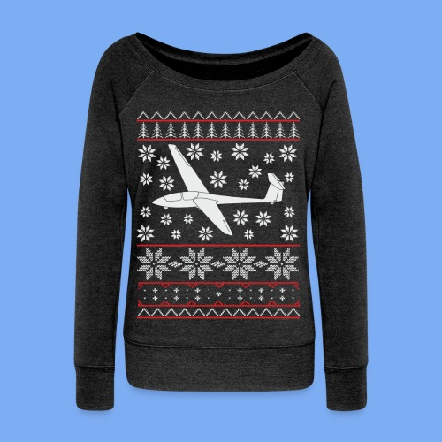 glider pilot ugly christmas Ask21 - Women's Boat Neck Long Sleeve Top