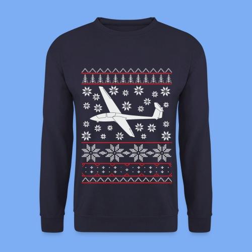 glider pilot ugly christmas Ask21 - Men's Sweatshirt