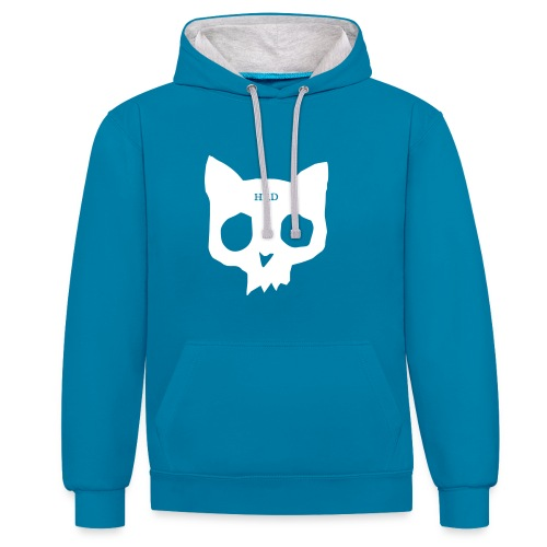 Cat Skull teal front - Contrast Colour Hoodie