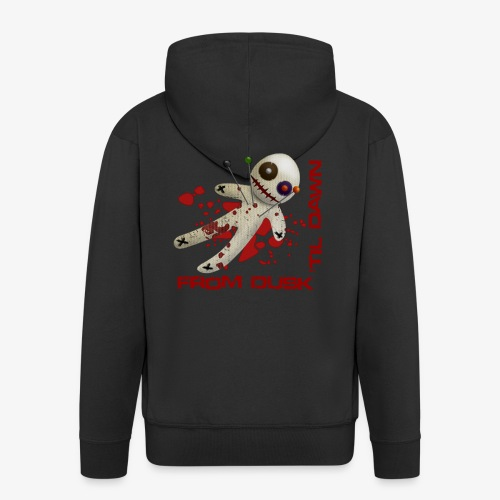 Men's Premium Hooded Jacket - Premium quality man's hooded zip top with the From Dusk 'til Dawn Voodoo Doll logo on the back