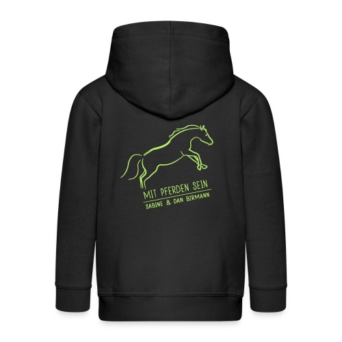 Back Running Horse  ( Print light green) - Kinder Premium Kapuzenjacke
