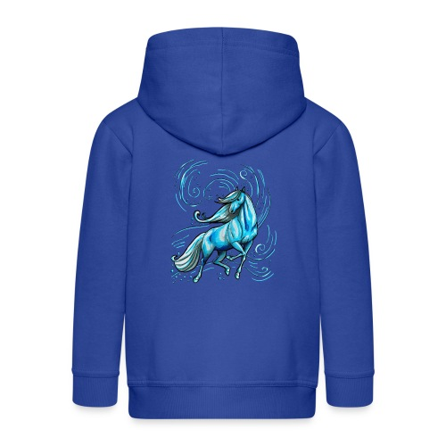 Front MPS Schörkelschriftzug-  Back Wasserpferd ( Print light blue) - Kinder Premium Kapuzenjacke