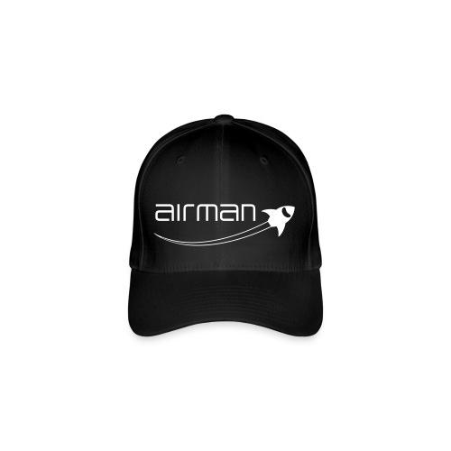 Baseball Cap flexibel - airman Logo weiß - Flexfit Baseballkappe