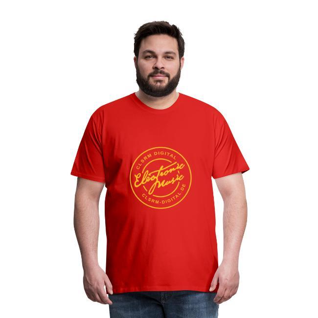 """Mens T-Shirt Badge """"Electronic Music"""" 1c Orange"""