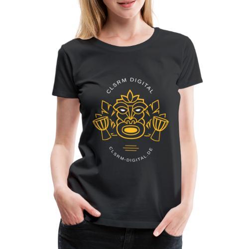 Womens T-Shirt Print Totemic 2c Yellow / White - Frauen Premium T-Shirt