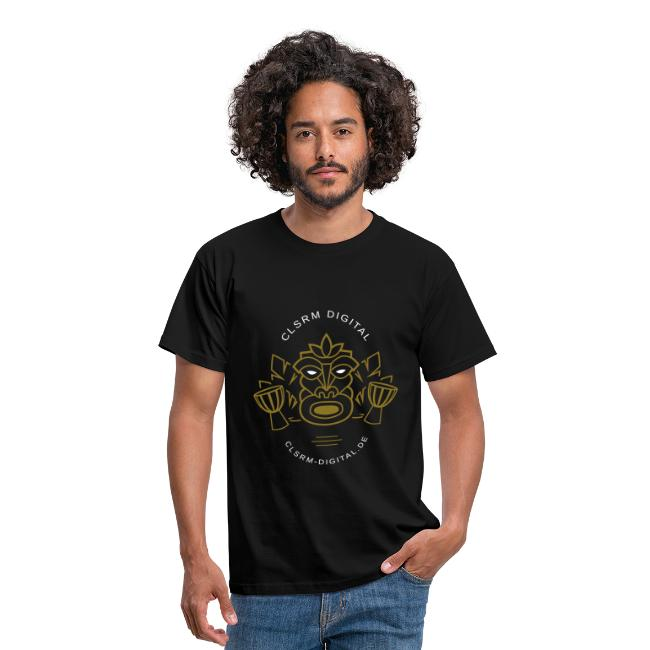Mens T-Shirt Print Totemic 2c Gold / White