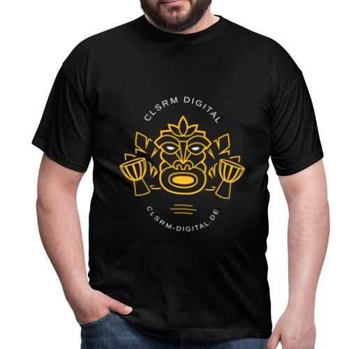 Mens T-Shirt Print Totemic 2c Yellow / White - Männer T-Shirt