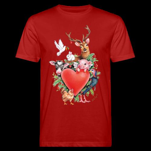 Men's Organic T-Shirt - Vrolijk kerst ontwerp met hart en dieren, getekend door vegan kunstenares Maria Tiqwah.