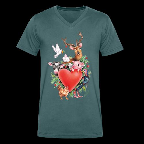 Men's Organic V-Neck T-Shirt by Stanley & Stella - Vrolijk kerst ontwerp met hart en dieren, getekend door vegan kunstenares Maria Tiqwah.