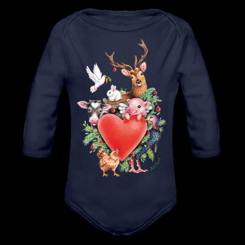 Organic Longsleeve Baby Bodysuit - Vrolijk kerst ontwerp met hart en dieren, getekend door vegan kunstenares Maria Tiqwah.