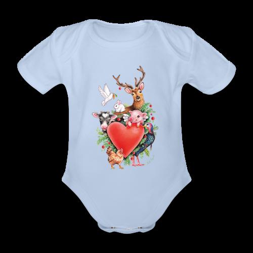 Organic Short-sleeved Baby Bodysuit - Vrolijk kerst ontwerp met hart en dieren, getekend door vegan kunstenares Maria Tiqwah.