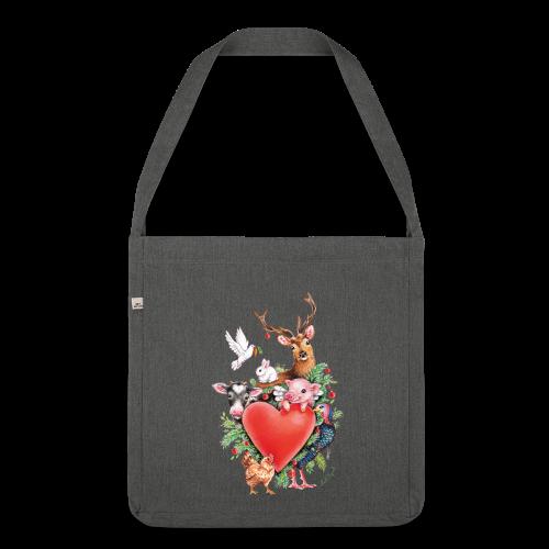 Shoulder Bag made from recycled material - Vrolijk kerst ontwerp met hart en dieren, getekend door vegan kunstenares Maria Tiqwah.