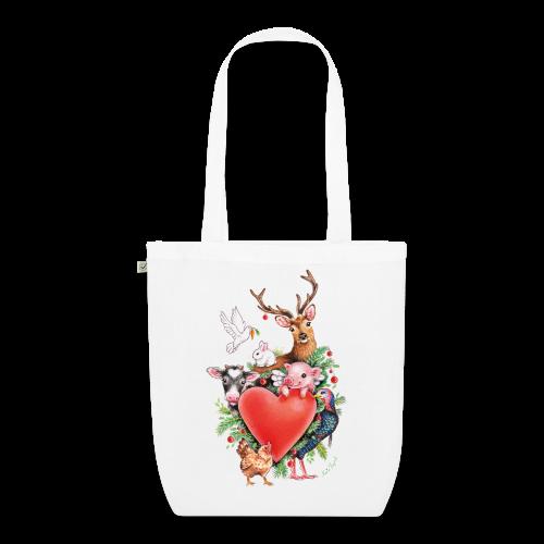 EarthPositive Tote Bag - Vrolijk kerst ontwerp met hart en dieren, getekend door vegan kunstenares Maria Tiqwah.