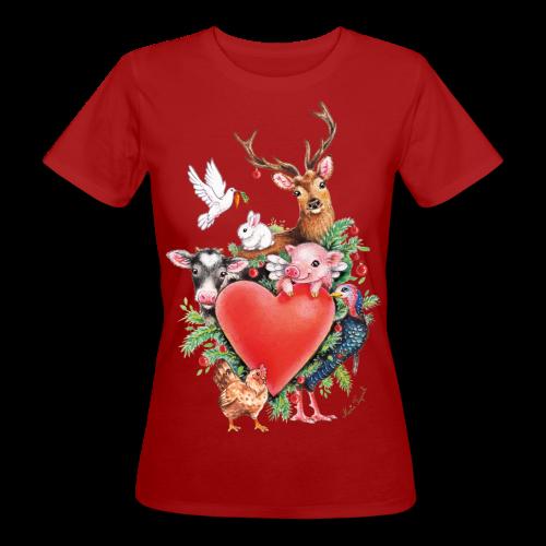 Women's Organic T-Shirt - Vrolijk kerst ontwerp met hart en dieren, getekend door vegan kunstenares Maria Tiqwah.