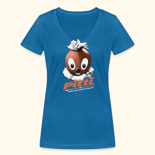 Frauen Bio-T-Shirt mit V-Ausschnitt Pittiplatsch Ach, du meine Nase  - Frauen Bio-T-Shirt mit V-Ausschnitt von Stanley & Stella