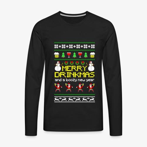 Männer Premium Langarmshirt Merry Drinkmas Ugly Xmas - Männer Premium Langarmshirt