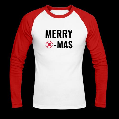 Merry Xmas | Langarmshirt mit Drohnen-Motiv zu Weihnachten für Männer - Männer Baseballshirt langarm