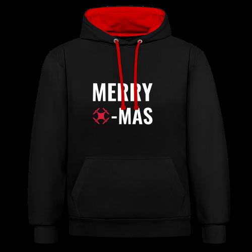 Merry Xmas | Pullover mit Drohnen-Motiv zu Weihnachten - Kontrast-Hoodie