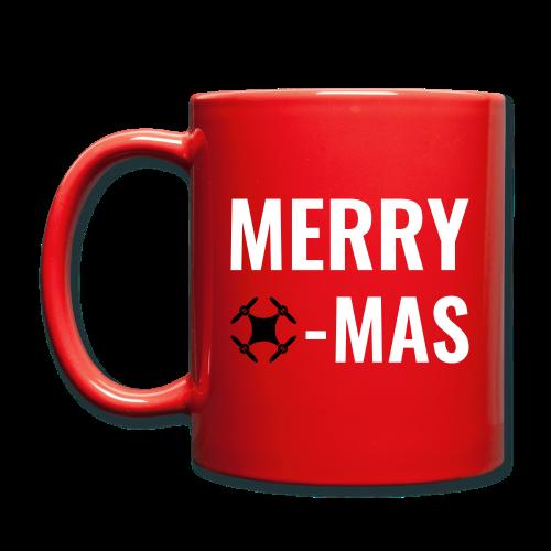 Merry Xmas   Tasse mit weihnachtlichem Drohnen-Motiv - Tasse einfarbig