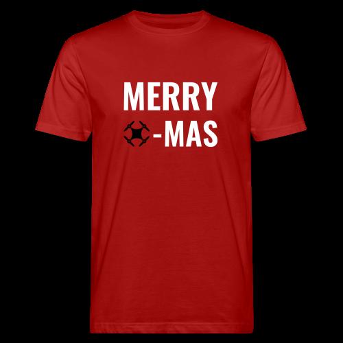 Merry Xmas | Bio-T-Shirt mit weihnachtlichem Drohnen-Motiv für Männer - Männer Bio-T-Shirt