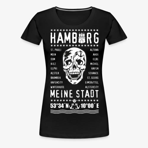 84 Skull Totenkopf Hamburg MEINE STADT Stadtteile - Frauen Premium T-Shirt