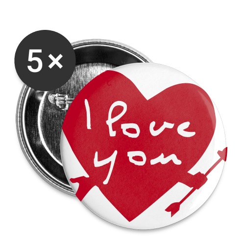 I love you! - Stor pin 56 mm (5-er pakke)