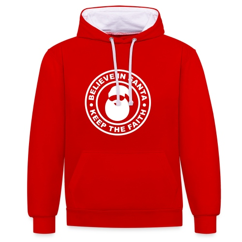 Santa - Keep The Faith Hoodie - Contrast Colour Hoodie