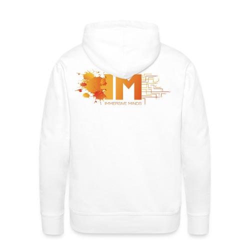 Immersive Hoodie - Mans - White with Orange Logo - Men's Premium Hoodie