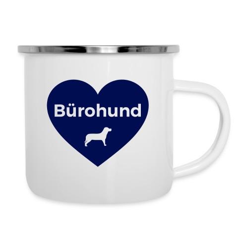 Emaille-Tasse Bürohund Herz Blau - Emaille-Tasse