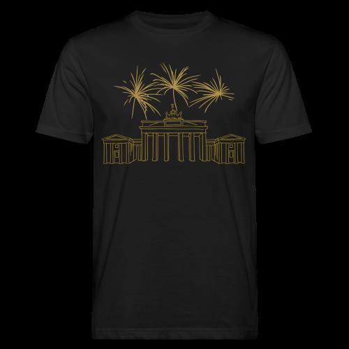 BERLIN Goldregen Feuerwerk Silvester am Brandenburger Tor. - Männer Bio-T-Shirt