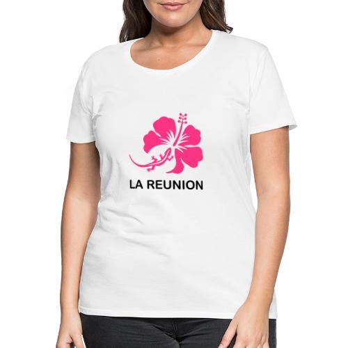 T-shirt Premium Femme margouillat, hibiscus - T-shirt Premium Femme