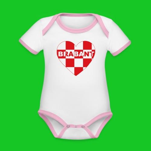 Love Brabant Hart rompertje - Baby contrasterend bio-rompertje met korte mouwen