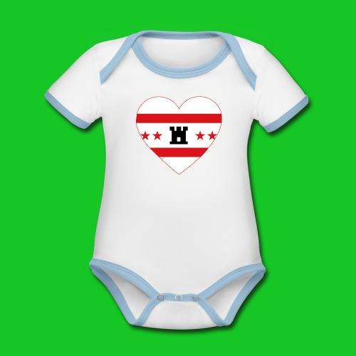 Love Drenthe Hart rompertje - Baby contrasterend bio-rompertje met korte mouwen