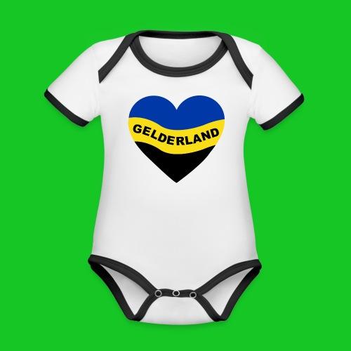 Love Gelderland Hart rompertje - Baby contrasterend bio-rompertje met korte mouwen