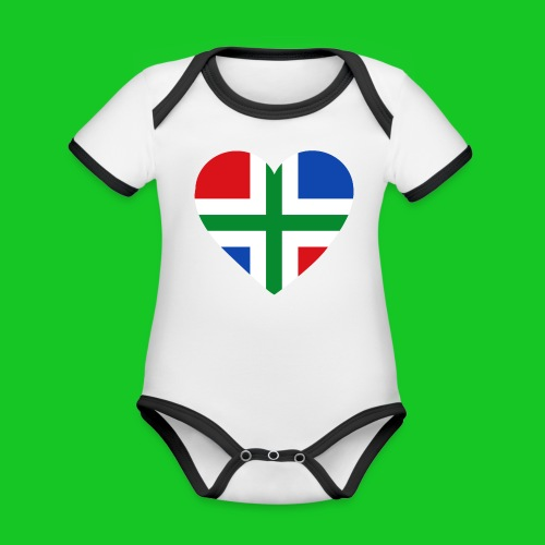Love Groningen Hart rompertje - Baby contrasterend bio-rompertje met korte mouwen