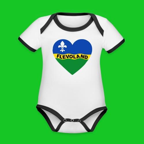 Love Flevoland Hart rompertje - Baby contrasterend bio-rompertje met korte mouwen